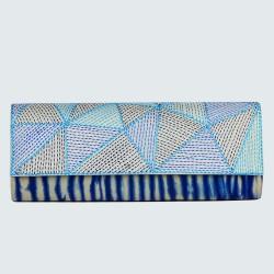 Blue tie-dye kantha stich hand purse